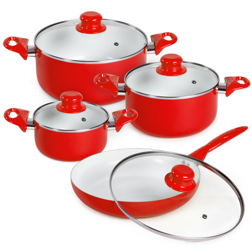 saucepan set made of aluminium with ceramic coating red