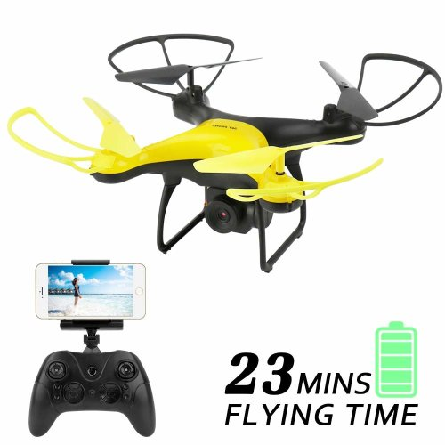Dwi Dowellin WiFi FPV Drone with 720P HD Tiltable Camera Lens 23mins Long Flight Time RC Quadcopter with Altitude Hold 3D Flips Rolls Trajectory...