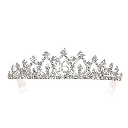 Birthday Party Rhinestone Crystal Tiara Crown - Sweet 16th Sixteenth T1159