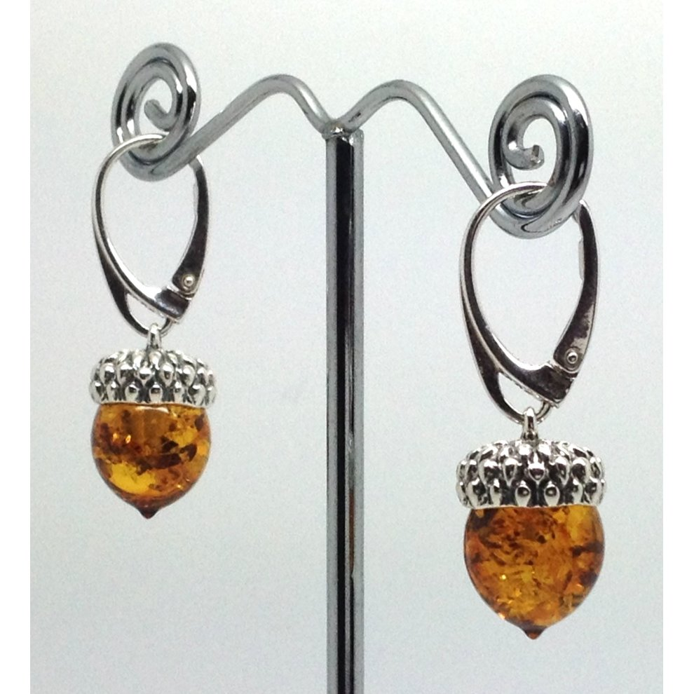 8ffe3296e Real Baltic amber acorn drop earrings, solid Sterling Silver. on OnBuy