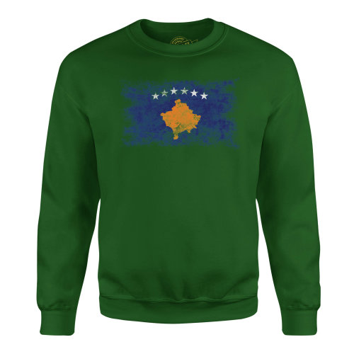 Candymix - Kosovo Distressed Flag - Unisex Adult Sweatshirt, Size 3X-Large, Colour Dark Navy, Size Small, Colour Bottle Green