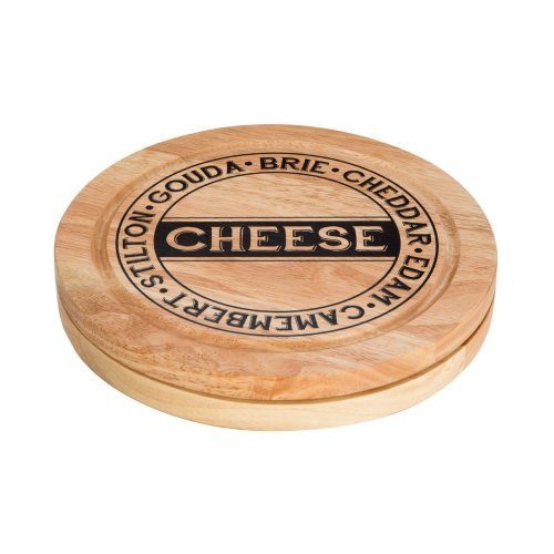 Cheese Storage Board With 4Pc Knife Set, Natural