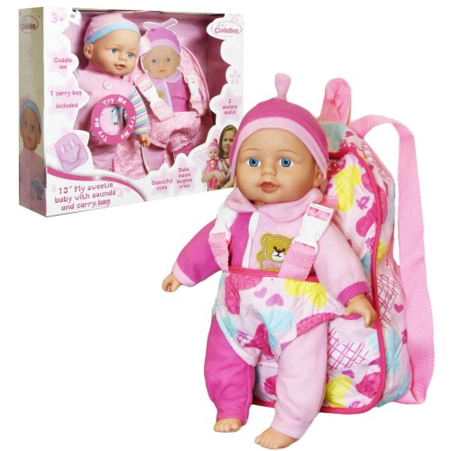 "13 "" Baby Doll with Carrier Backpack and Baby Sounds"
