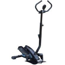 HOMCOM Elliptical Cross Trainer Stepper with Handle Hand Grip LCD Display Adjustable Magnetic Resistance  Black