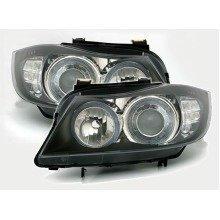 Bmw 3 Series E90 Saloon 2005-2007 Black Angel Eyes Headlights Led Indicators Pair