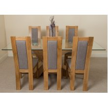 Valencia Large Oak 200cm Glass Dining Table with Stanford Dining Chairs