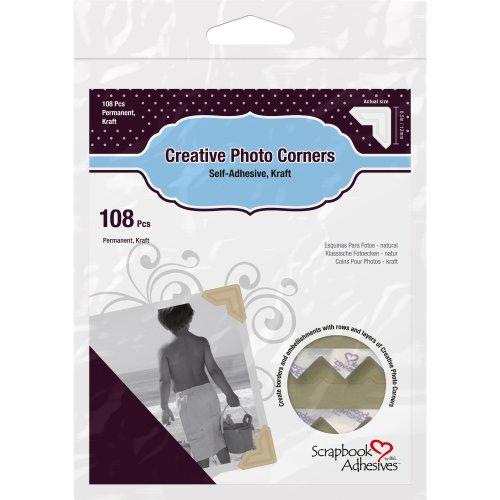 Scrapbook Adhesives Paper Photo Corners Self-Adhesive 108/Pk-Kraft