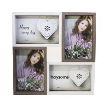 "Wood Effect Multi Photo Frame 4"" x 6"" White - Brown by Happy Homewares"