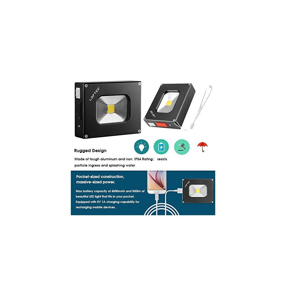 Portable Flood Light: LOFTEK® Outdoor LED Pocket Floodlight with 4000mAh  USB Rechargeable Power Bank Function, Waterproof, 500lm, Black