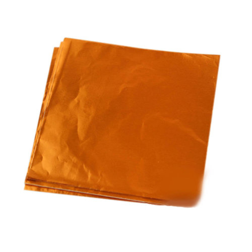 100pcs Handmade Aluminum Foil Packaging Paper Candy Chocolate Thick Wrappers- Orange