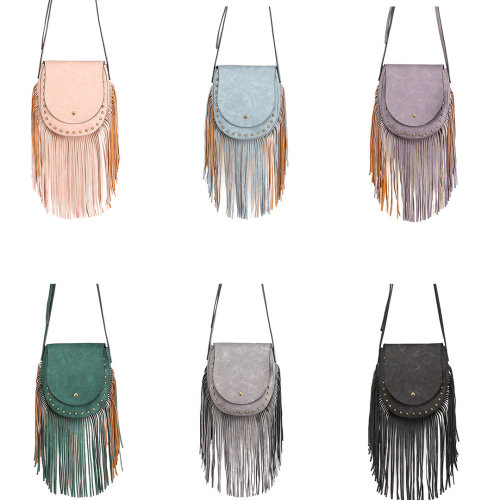 Miss Lulu PU Leather Tassel Handbag Shoulder Bag