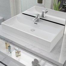 vidaXL Basin with Faucet Hole Ceramic White 76x42.5x14.5 cm