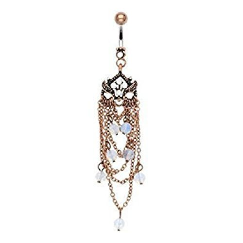 Opal Bead Cluster Vintage Antique Gold Chain Chandelier Belly Bar