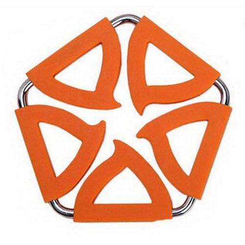 Pentagon Stainless Steel Silicon Potholders Pot Holder, Heat-proof Mat(Orange)