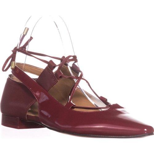 Calvin Klein Evalyn Lace Up Mary Jane Flats, Garnet, 3.5 UK