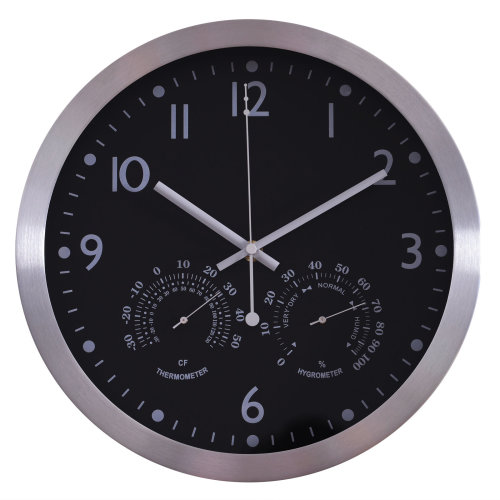"""HOMCOM 12"""" Wall Clock Large Numbers Easy Read Set UP Battery Operated Quartz Analogue Home Office Bedroom Black"""