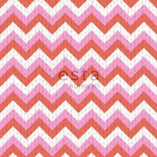 wallpaper zigzag motif coral red and pink - 138135