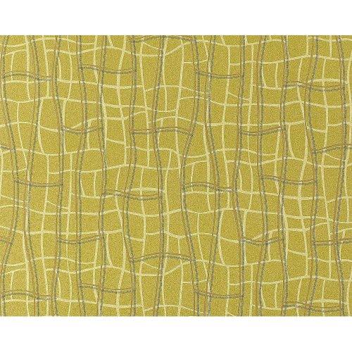 EDEM 972-38 wallpaper non-woven 3D net texture mustard green gold   114 sq ft