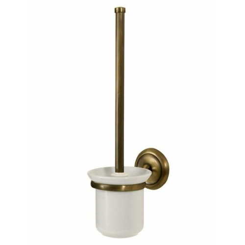 Retro Bathroom Antique Brass Wall Mounted Ceramics Cup + Toilet Cleaning Brush