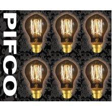 6 X PIFCO GLS 40 Watt B22 Bayonet Vintage Mini Globe Retro Light Bulbs