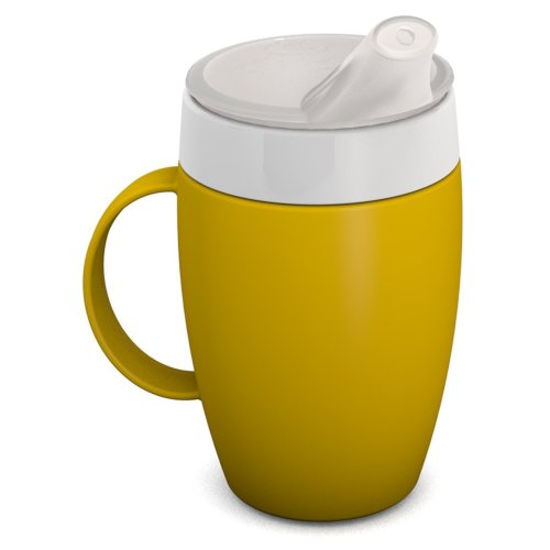 Ornamin Mug with Internal Cone 140 ml Yellow and Thermal Function with Spouted Lid (model 905 + 806) | drinking aid, feeding cup