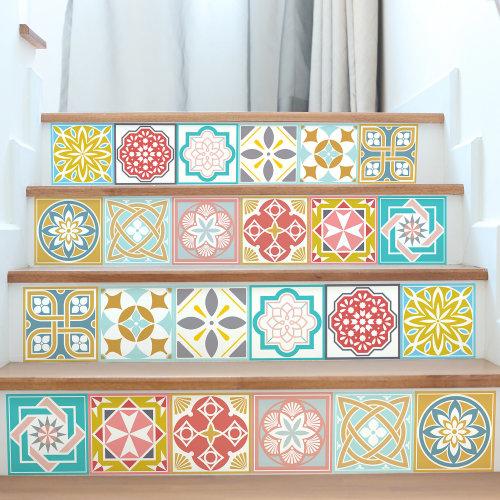 6 Malia Colourful Tiles Mix Wall Stickers - 15 cm x 15 cm - 24 pcs.