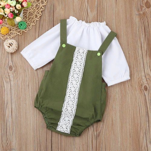 Newborn Baby clothes Girls romper Long Sleeve Solid Tops + Lace Romper Set Suit Infant Outfits drop shipping