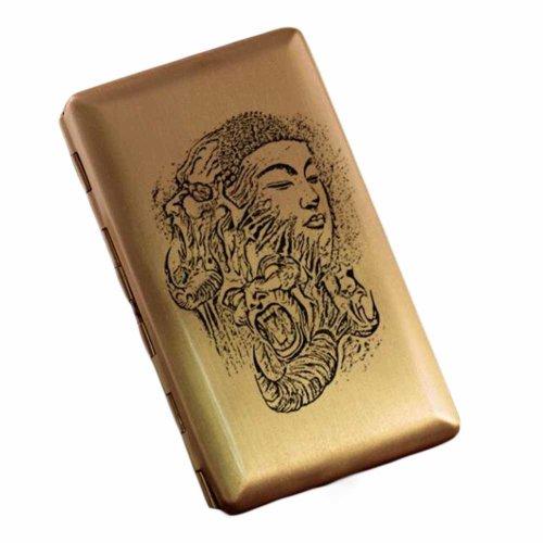 Copper Brass Metal Cigarette Case Holder Box Card Case Slim Portable Cigarette Box, Kind and Evil