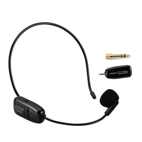 XIAOKOA 2.4G Wireless Microphone, 40m Stable Wireless Transmission, Headset And Handheld 2 In 1, For Voice Amplifier, Camera Recording, Speaker,...