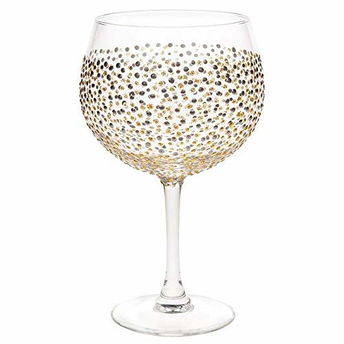 Sunny by Sue Large Gin and Tonic Goblet Hand Decorated Gin Glass 600ml | Gold and Silver Spots