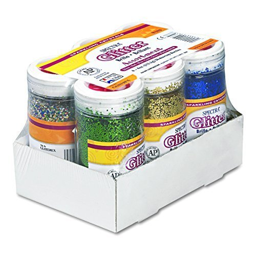 Pacon 91370 Spectra glitter 6color assortment 4 oz shakertop jars 6 per carton by Pacon