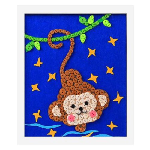Interesting Monkey DIY Button Painting Mosaic Craft for Kids