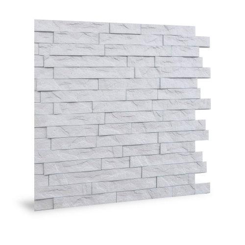 Profhome 3D 704447 Ledge Stone Matte White Decor panel 3D shiny white 2 m2