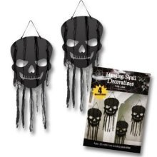 Halloween Black Skull Cut-out  Decorations with gauze -66.4cm