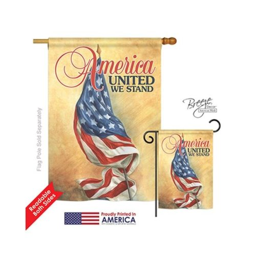 Breeze Decor 11061 Patriotic America United 2-Sided Vertical Impression House Flag - 28 x 40 in.