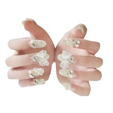 24 Pcs Elegant Women Art Artificial Nails Bride Nail Gel Nails