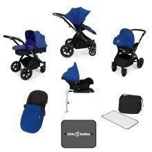 Ickle Bubba Stomp V3 All in One with Isofix Base - Blue on Black Frame