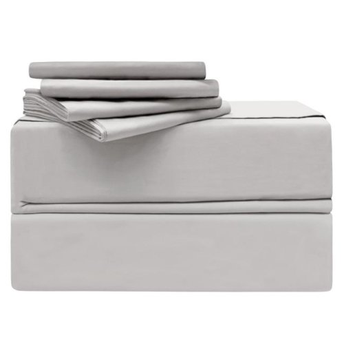 Simply the Best YMS008206 Luxury 620 Thread Count 100 Percent Cotton Sheet Set, Platinum - King - 6 Piece