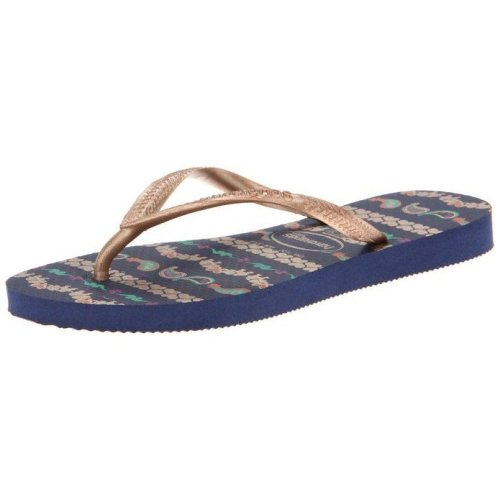 Havaianas Kids Slim Garden Navy Flip Flops UK 8-9