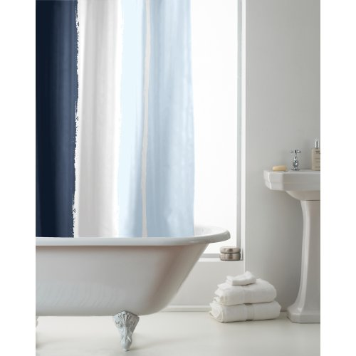 Country Club Hookless Shower Curtain, Blue Loft Stripe