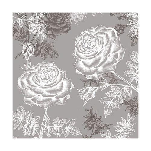 Ambiente 3 Ply Paper Napkins, Etching Roses Grey