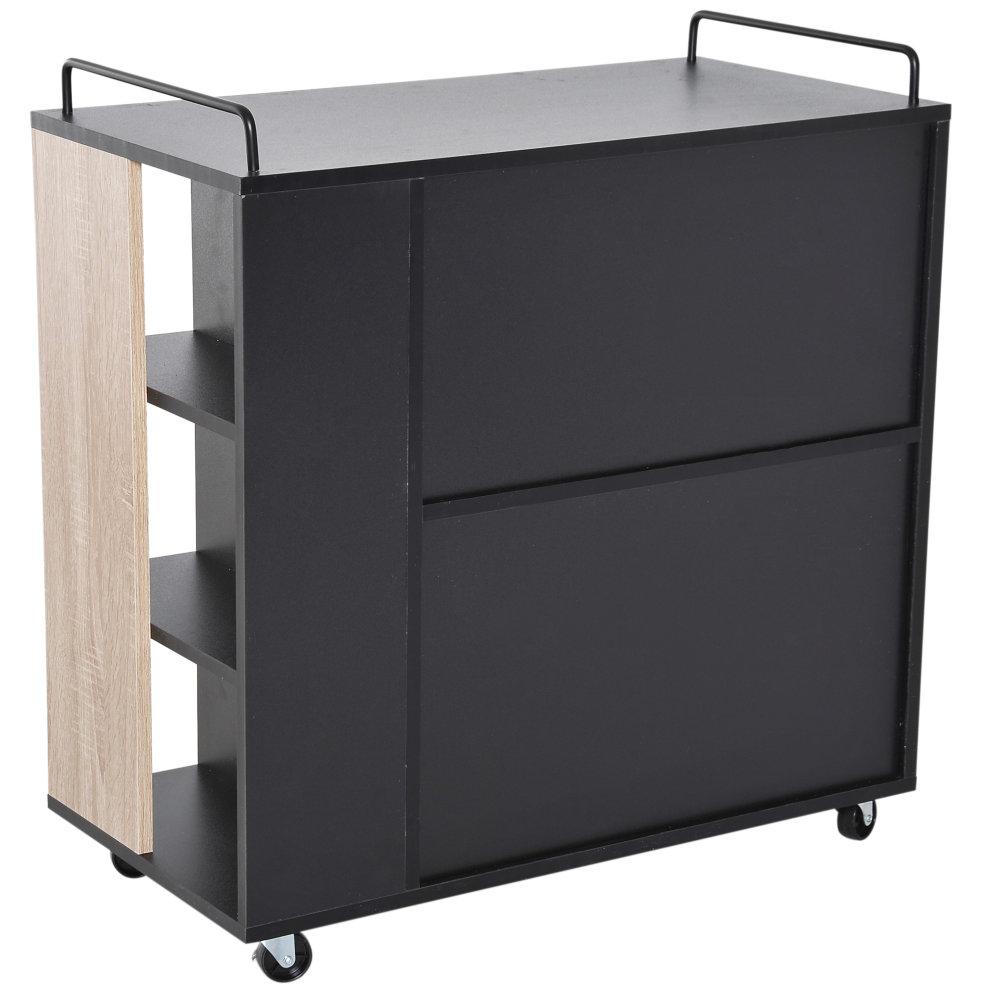 Kitchen Storage Trolleys: HOMCOM Rolling Kitchen Storage Trolley Cart Cupboard