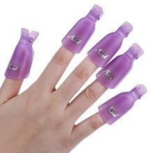 Useful 10Pcs Plastic Acrylic Nail Art Soak Off Clip UV Gel Polish Remover Cap Wrap Tool (Purple)