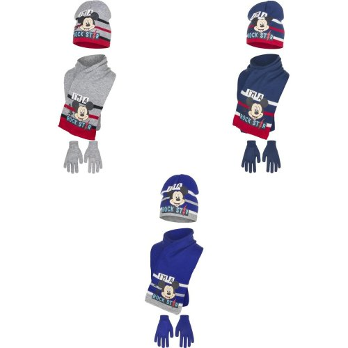Disney Mickey Mouse Childrens Boys Rockstar Winter Hat, Scarf And Gloves Set