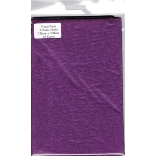 5 Sheets Of Purple Tissue Paper 750mm x 500mm