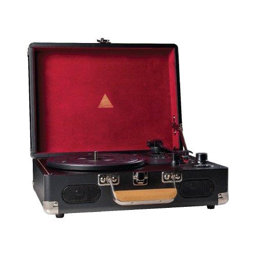 Elyxr Audio Revolution Portable Vinyl Player - Black and Burgundy ELX-1006