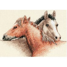 """Dimensions Mini Counted Cross Stitch Kit 7""""X5""""-Horse Pals (14 Count)"""