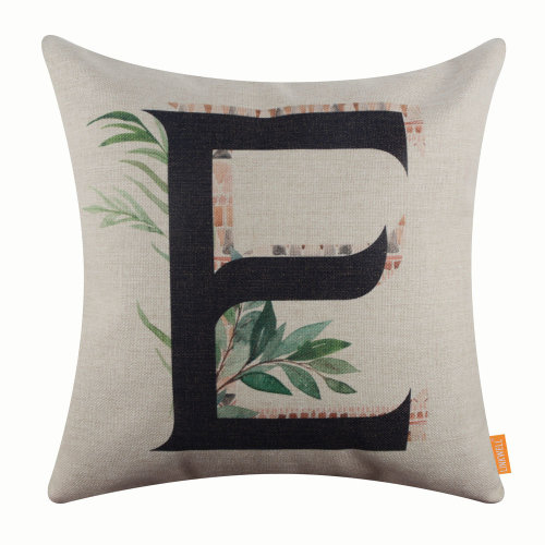 "18""x18"" Tropical Leaf Letter E Burlap Pillow Cover Cushion Cover"