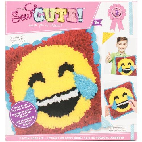 Emoji Sew Cute! Latch Hook Kit-Emoji Laugh Tears
