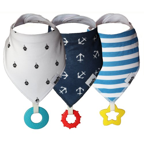 Snazzy Kid® Baby Bandana Dribble Bib with Teether 3pk Dual Purpose Also Acts as Dummy Chain